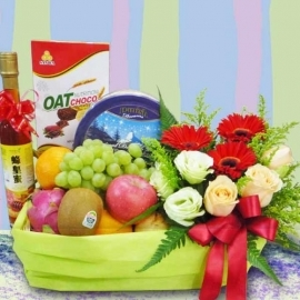 Honey, Mixed Fruits, Roses & assorted Biscuits/Cookies Basket Gift