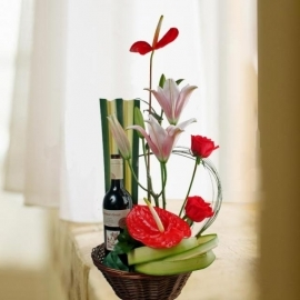 Red Wine & Anthurium Arrangement