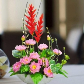 Artificial Pink Lotus Flower Arrangement
