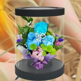 Blue Roses With Message-in-a-Bottle