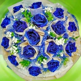 18 Shining Blue Roses Hand Bouquet