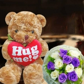 38cm Bear With 6 Purple & 6 White Roses Hand Bouquet Delivery