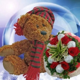 6 Red Roses & 6 Glitter Ball Hand Bouquet With 9 inches Bear