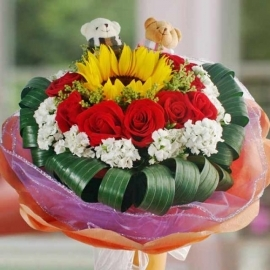 Mini Couple Bear, SunFlower & Red Roses Hand Bouquet