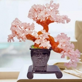 Natural Rose Quartz Crystal Gems Stone Bonsai 23cm Height