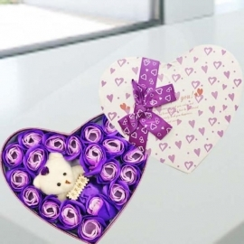 6 Purple Roses in Gift Box