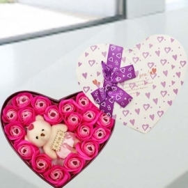 Handmade Rose Soap & Mini Bear In Heart-Shape Box