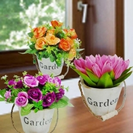 3 Pots Of Artificial Flowers ( Wooden Pot )