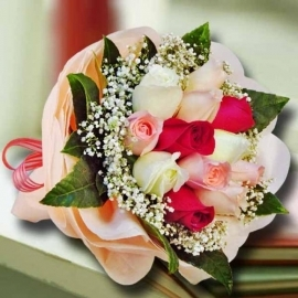 3 Mini Bears & Artificial Red Rose Bouquet With 8 inches Bear in Red Sweater