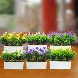 6 Plastic Flowering Plants in Rectangle Pot