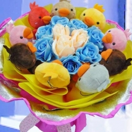 9 Chick Plush Toy & Artificial Roses Hand Bouquet