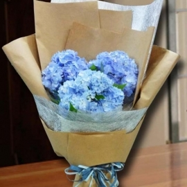 3 Blue hydrangeas Hand Bouquet.