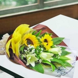 2 SunFlowers & 3 White Lilies Hand Bouquet