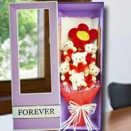 6 Mini Bear (10cm) Hand Bouquet in Gift Box