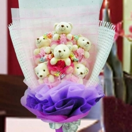 6 Mini Bear (8cm) Hand Bouquet With Balloons