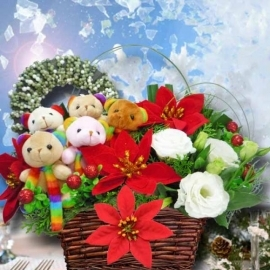 Artificial Christmas Flowers, Fresh Eustoma & Bears Arrangement