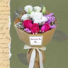 Cotton Flower & 3 Hot Pink Roses Small Hand Bouquet