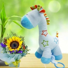 Musical Plush Toy 30cm Height & Sunflower Standing Bouquet