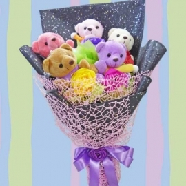 5 mini Bear Bouquet With 5 Artificial Roses