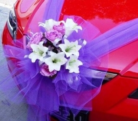 Wedding decoration for red car