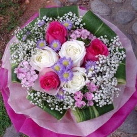 3 hot pink 3 white Roses hand bouquet