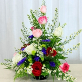 12 Mixed Roses Basket arrangement
